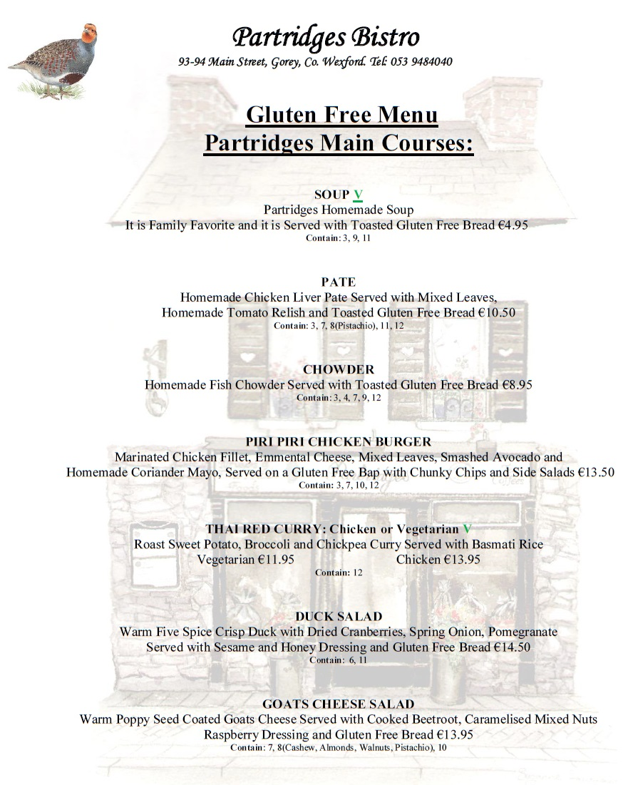 Partridges Gorey GF Lunch Menu 1