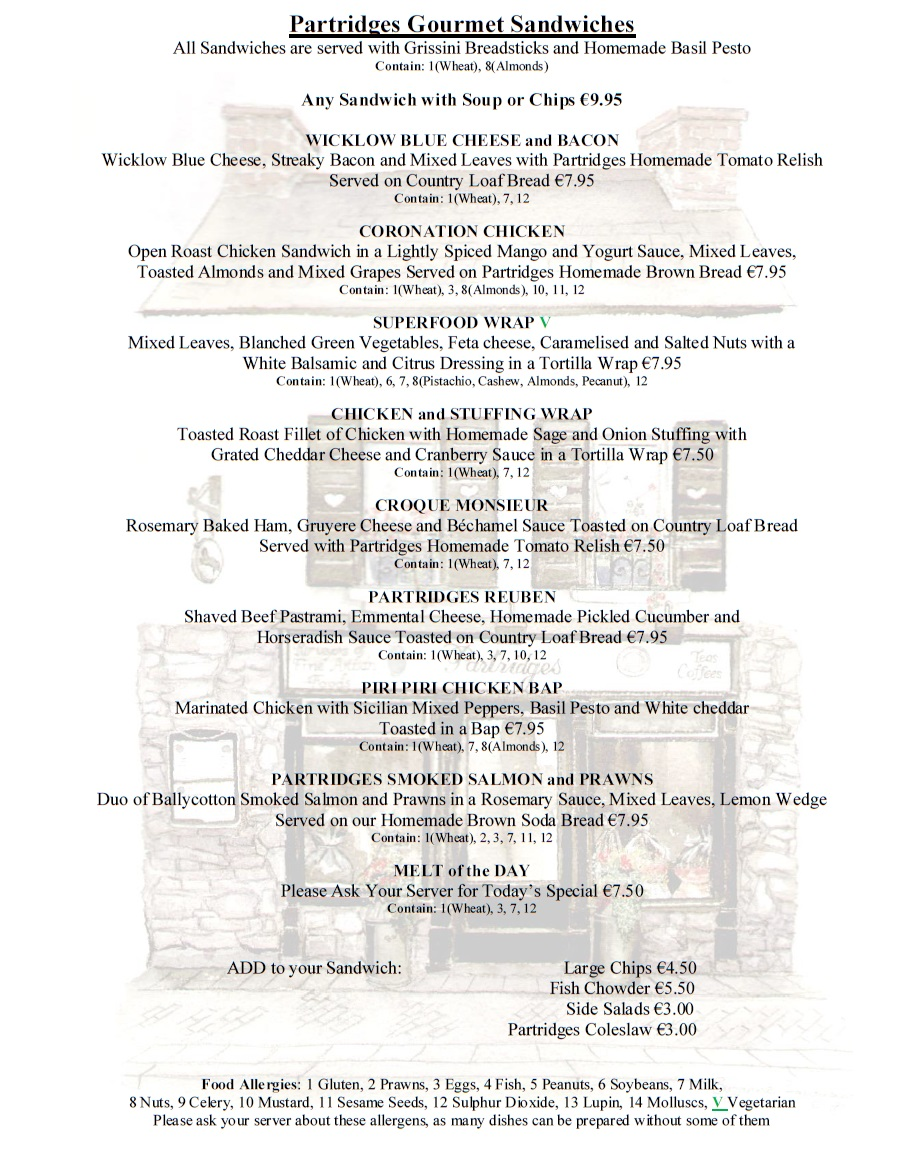 Partridges Gorey Lunch Menu 1