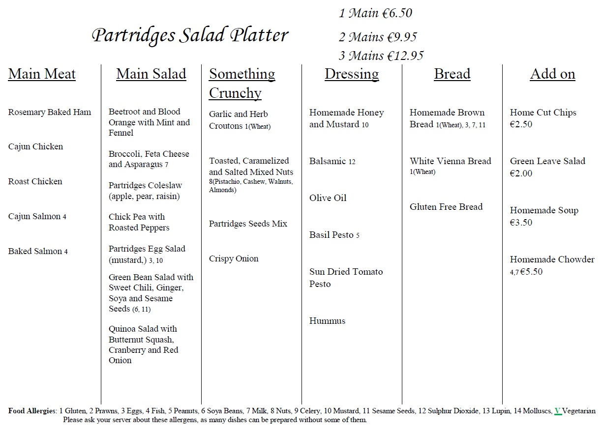 partridges gorey salad platter menu september 2018